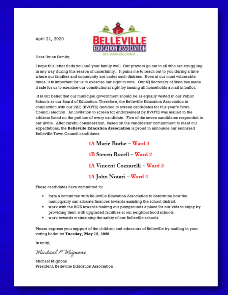 BEA Town Council Endorsements